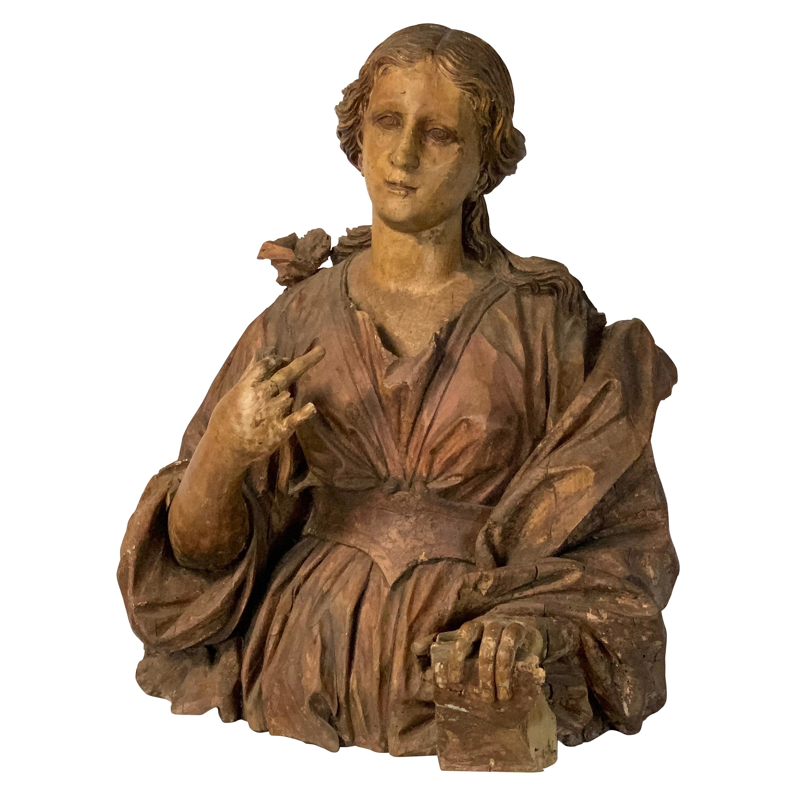 Large 18th Century Italian Carved Wood Bust