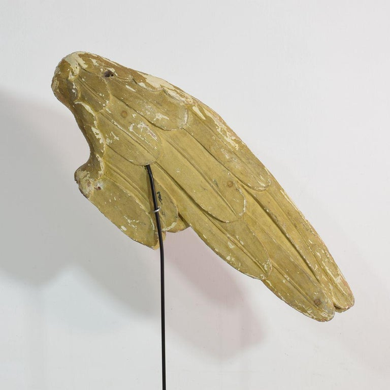 Large 18th Century, Italian Carved Wooden Wing of a Baroque Angel For Sale 9