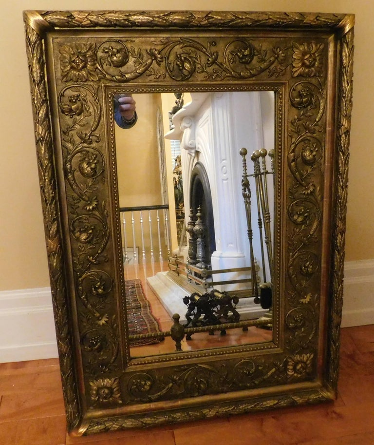 Large 18th Century Italian Gold Framed Mirror In Good Condition For Sale In Hamilton, Ontario