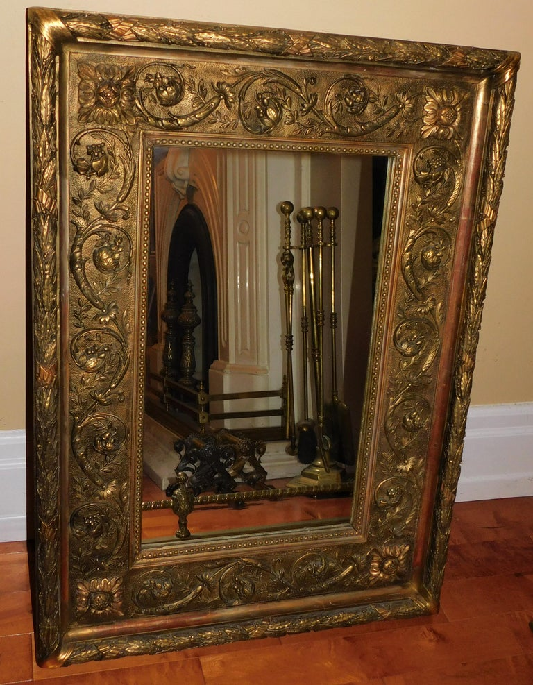 Large 18th Century Italian Gold Framed Mirror For Sale 2