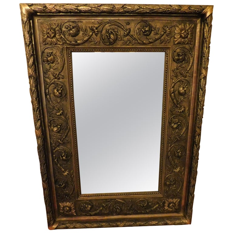 Large 18th Century Italian Gold Framed Mirror For Sale