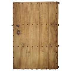 Large 18th Century Oak Plank Spanish Door with Wrought Iron Nailheads