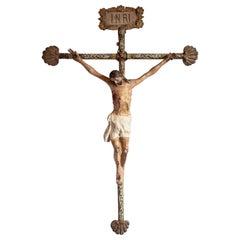 Large 18th Century Processional Crucifix, Cristo de Caña, Mexico