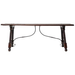 Large 18th Century Spanish Chestnut Robust Refectory Kitchen or Dinner Table