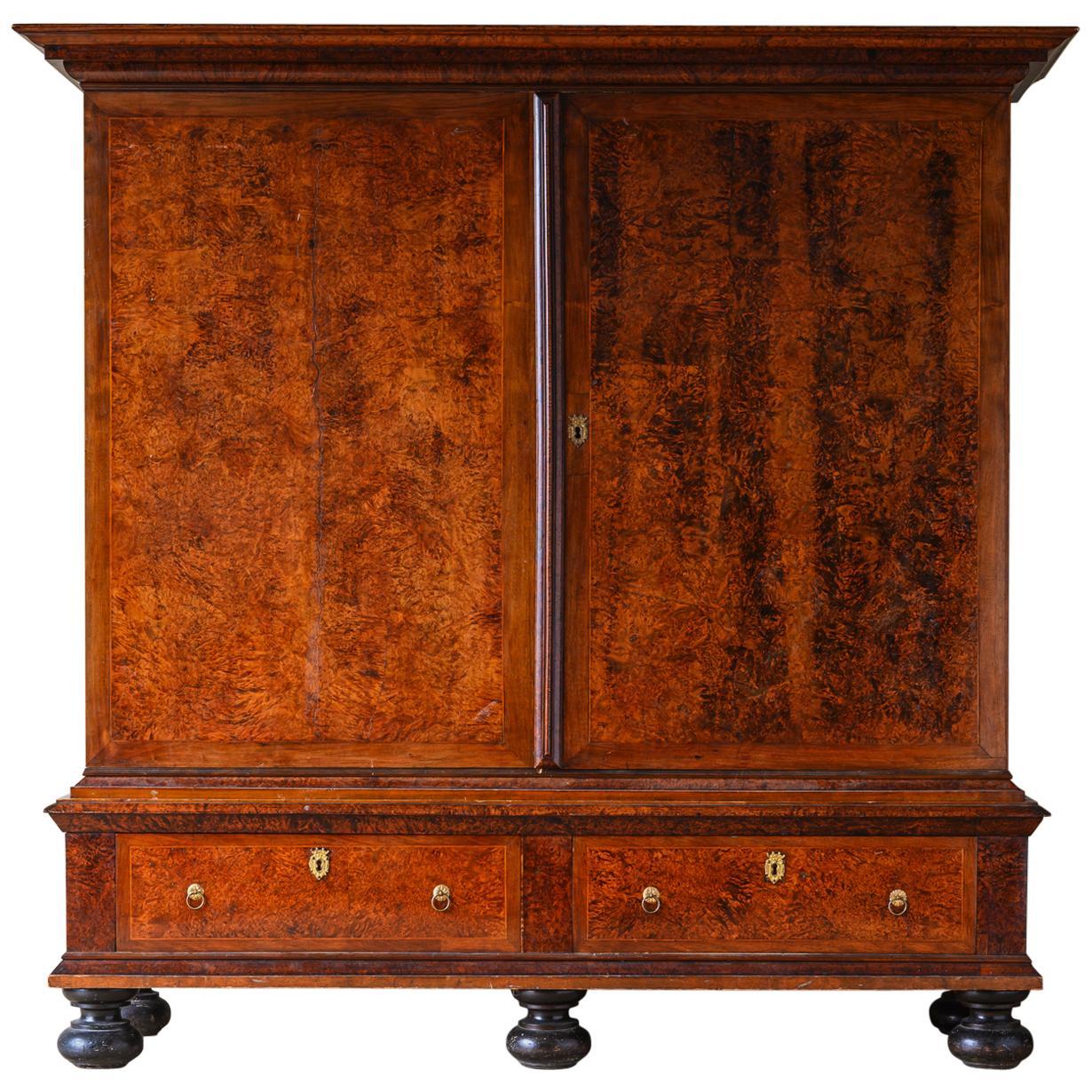 Large 18th Century Swedish Baroque Alder Root Cabinet