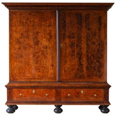 Large 18th Century Swedish Baroque Alder Root Cabinet