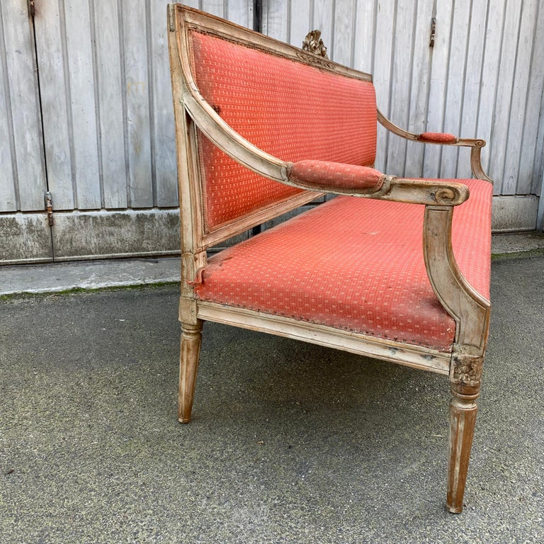 Large 18th Century Swedish Gustavian Gray Painted Sofa or Settee For Sale 8