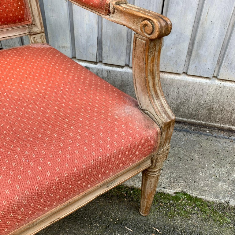 Large 18th Century Swedish Gustavian Gray Painted Sofa or Settee For Sale 2