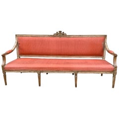 Large 18th Century Swedish Gustavian Gray Painted Sofa or Settee