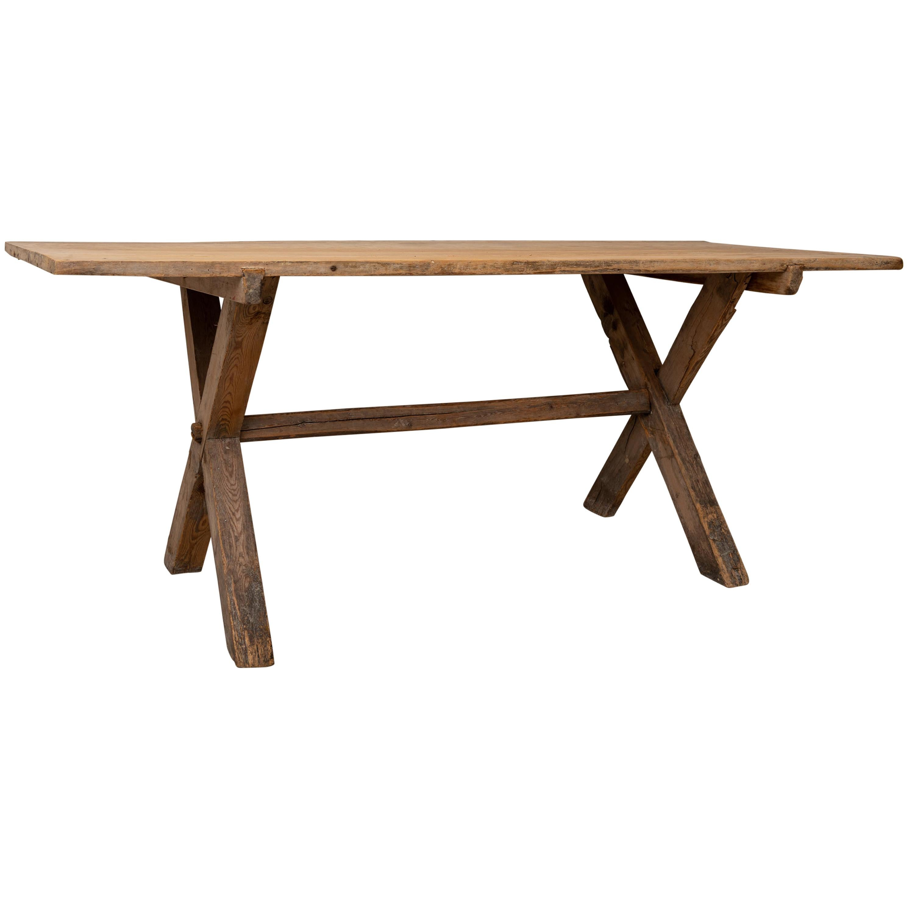 Large 18th Century Swedish Rustic and Primitive Pine Table
