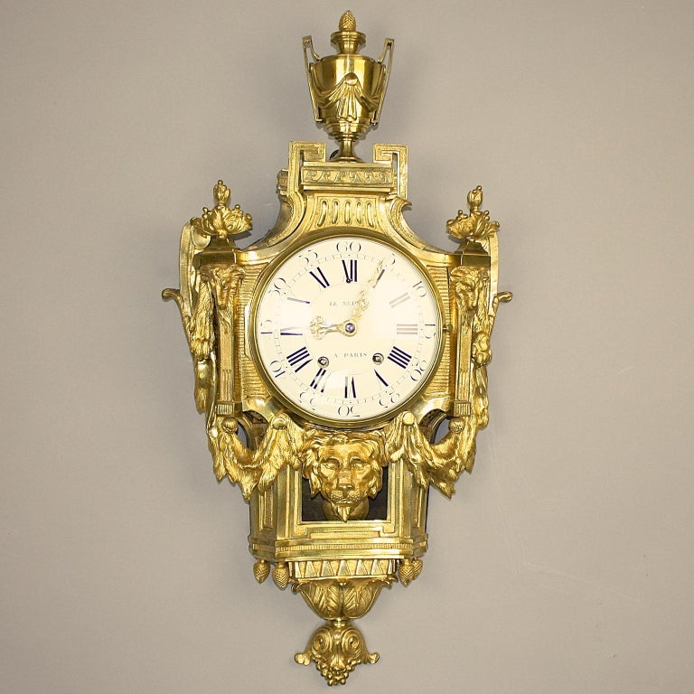 Große 18tes Jahrhundert Wanduhr, Louis XVI, Le Nepveu a Paris signiert 2