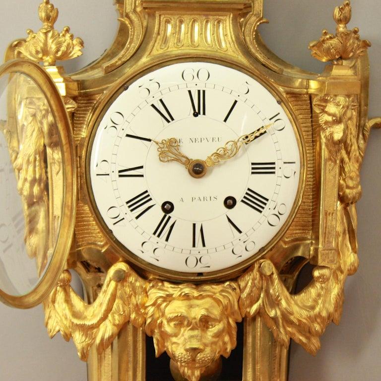 Große 18tes Jahrhundert Wanduhr, Louis XVI, Le Nepveu a Paris signiert 4