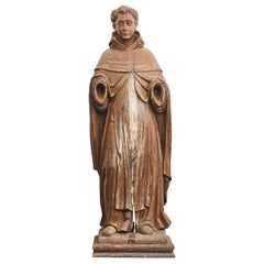 "Large 18th Century Wood Carved Statue of ""Saint Francis of Assisi"""