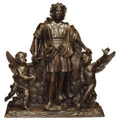 Large 18th Century Wooden Carving of an Angel with Cherubs