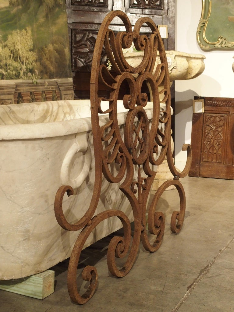 Large 18th Century Wrought Iron Gate Overthrow from Poitiers France For Sale 9