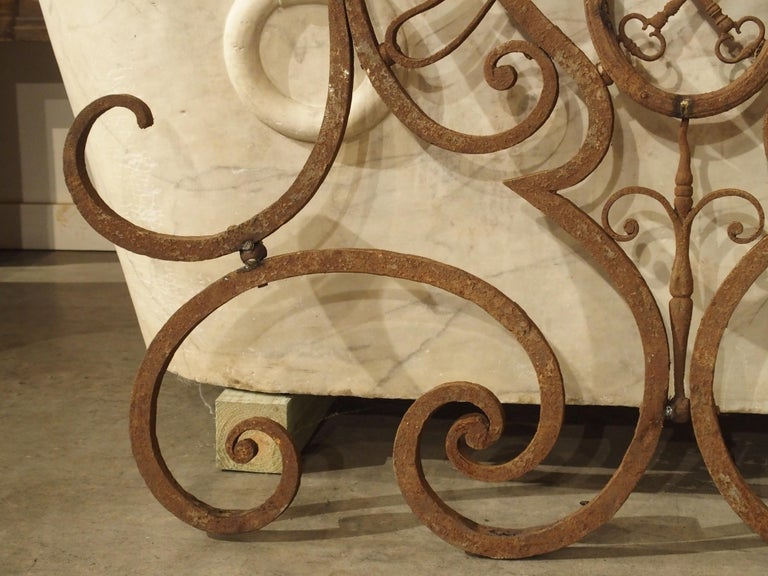 French Large 18th Century Wrought Iron Gate Overthrow from Poitiers France For Sale