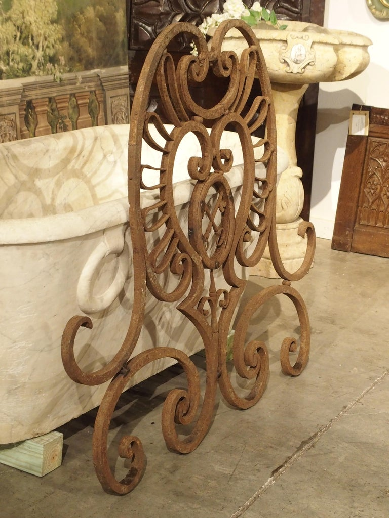 Large 18th Century Wrought Iron Gate Overthrow from Poitiers France For Sale 2