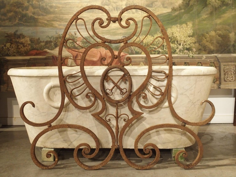 Large 18th Century Wrought Iron Gate Overthrow from Poitiers France For Sale 3