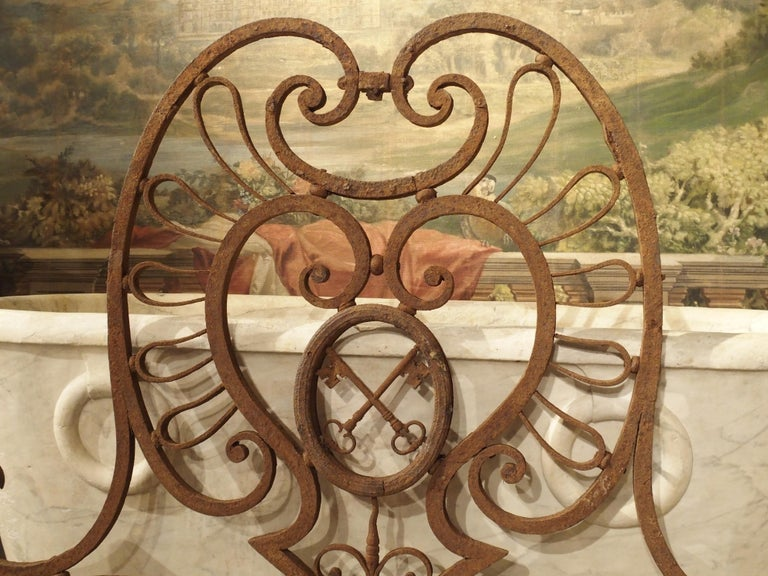 Large 18th Century Wrought Iron Gate Overthrow from Poitiers France For Sale 4