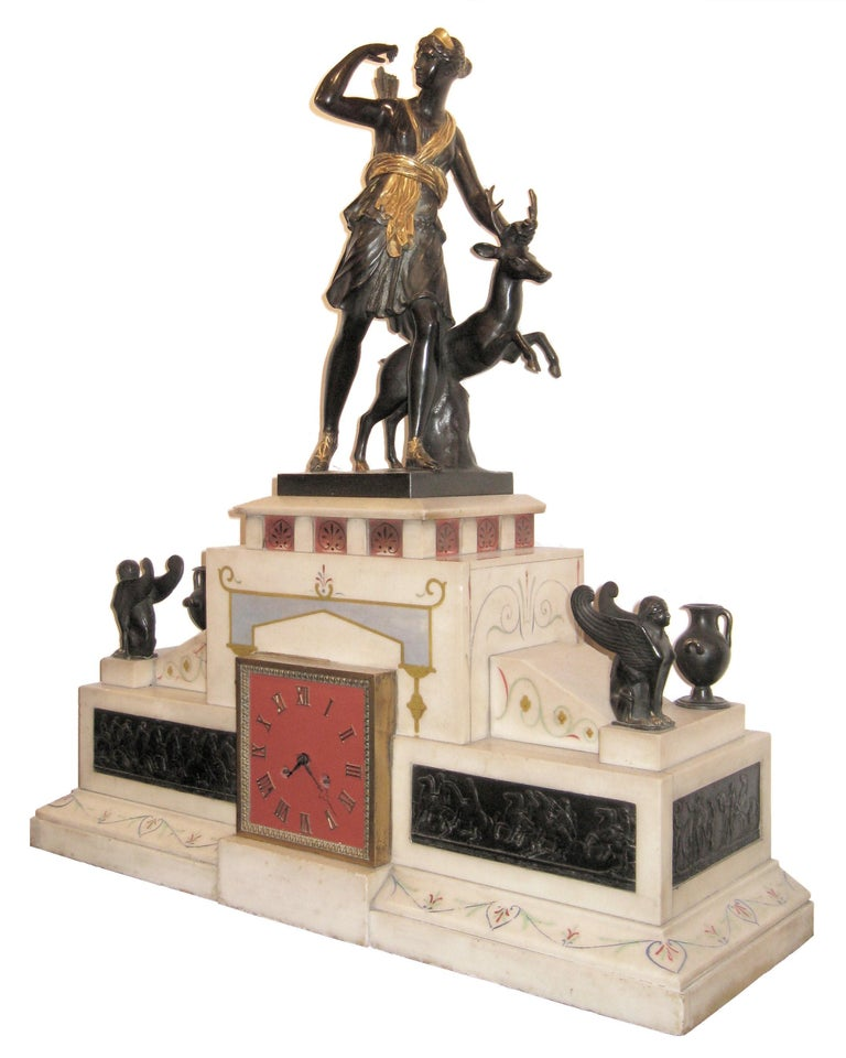 Large 19th Century Neoclassical Figural Bronze and Marble Mantle Clock In Good Condition For Sale In New York, NY