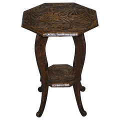 Large 1905 Liberty's London Japanese Carved Side End Lamp Wine Table Jardinière