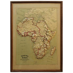 Large 1907 Vintage Relief Map of Africa by Atlas School Supply of Chicago