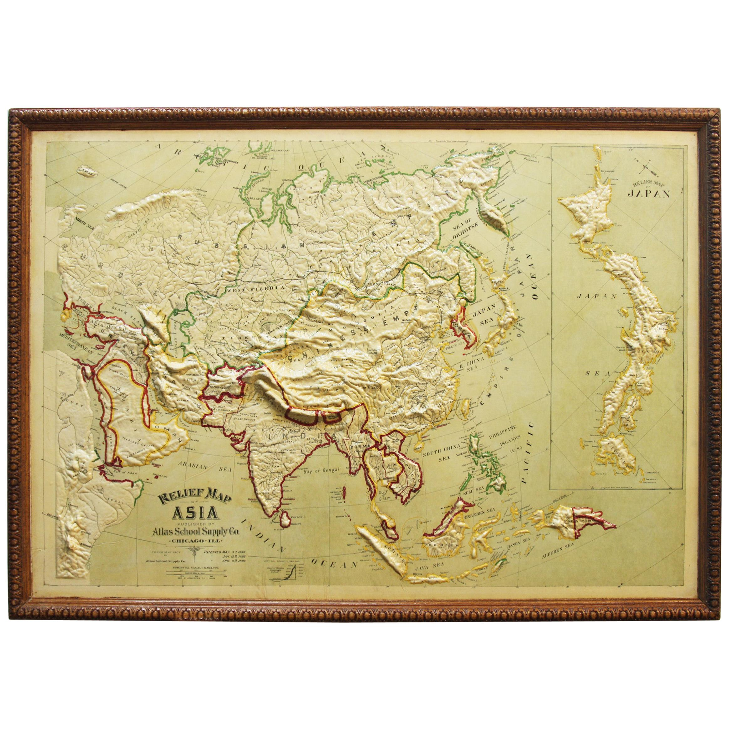 Large 1907 Vintage Relief Map of Asia by Atlas School Supply of Chicago