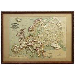 Large 1907 Vintage Relief Map of Europe by Atlas School Supply of Chicago