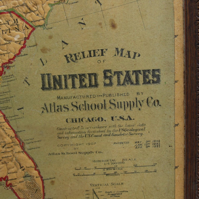 Industrial Large 1907 Vintage Relief Map of United States by Atlas School Supply of Chicago For Sale