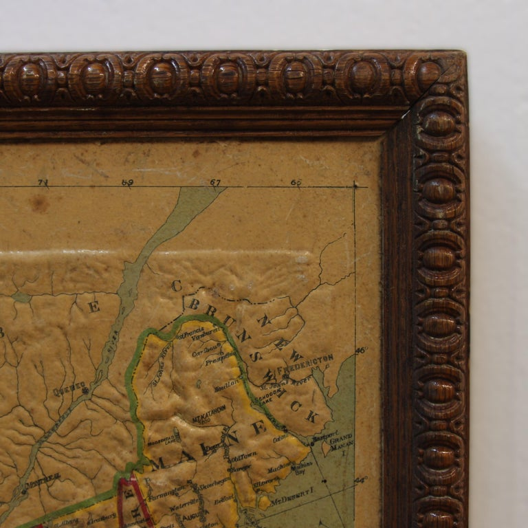 American Large 1907 Vintage Relief Map of United States by Atlas School Supply of Chicago For Sale