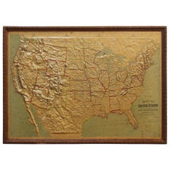 Large 1907 Vintage Relief Map of United States by Atlas School Supply of Chicago