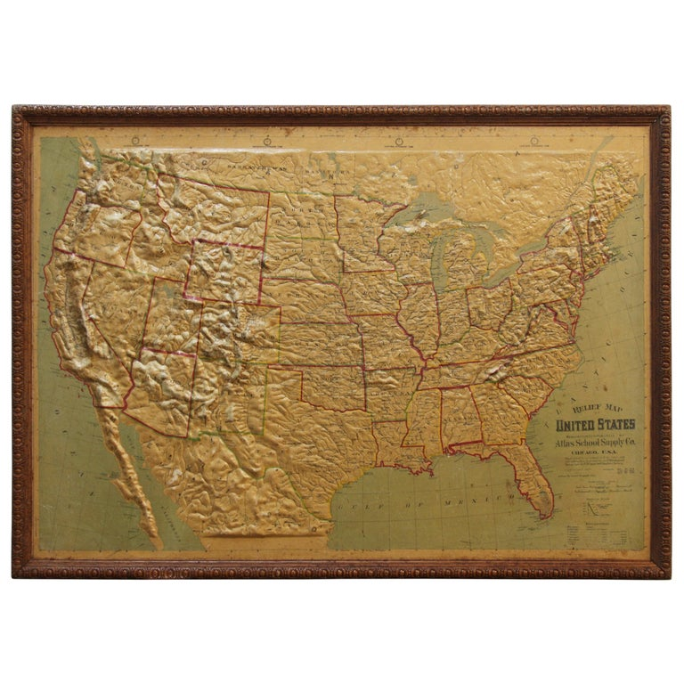 Large 1907 Vintage Relief Map of United States by Atlas School Supply of Chicago For Sale