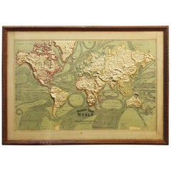 Large 1907 Vintage Relief Map of World by Atlas School Supply of Chicago