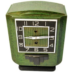 Large 1930s Art Deco Green Bakelite Mantle Clock