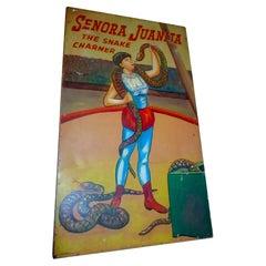 Large 1930s Carnival Sideshow Painting on Wood Senora Juanita the Snake Charmer