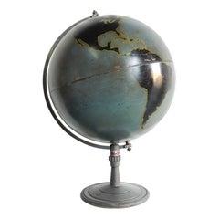 Large 1930s Machine Age Industrial Metal World Globe