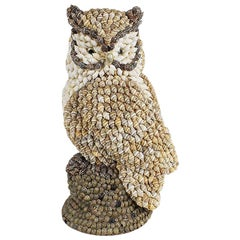 Large 1930s Primitive Shell Encrusted Owl in Brown Black and White