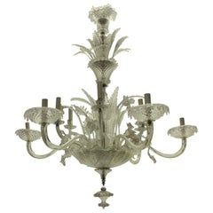 Large 1930s Twelve-Branch Leafy Murano Chandelier