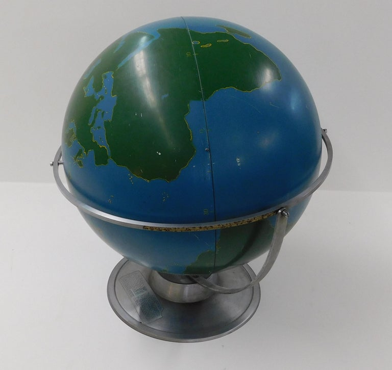 American Large 1940s A.J. Nystrom Aviation Military Training Rotating World Globe USA For Sale