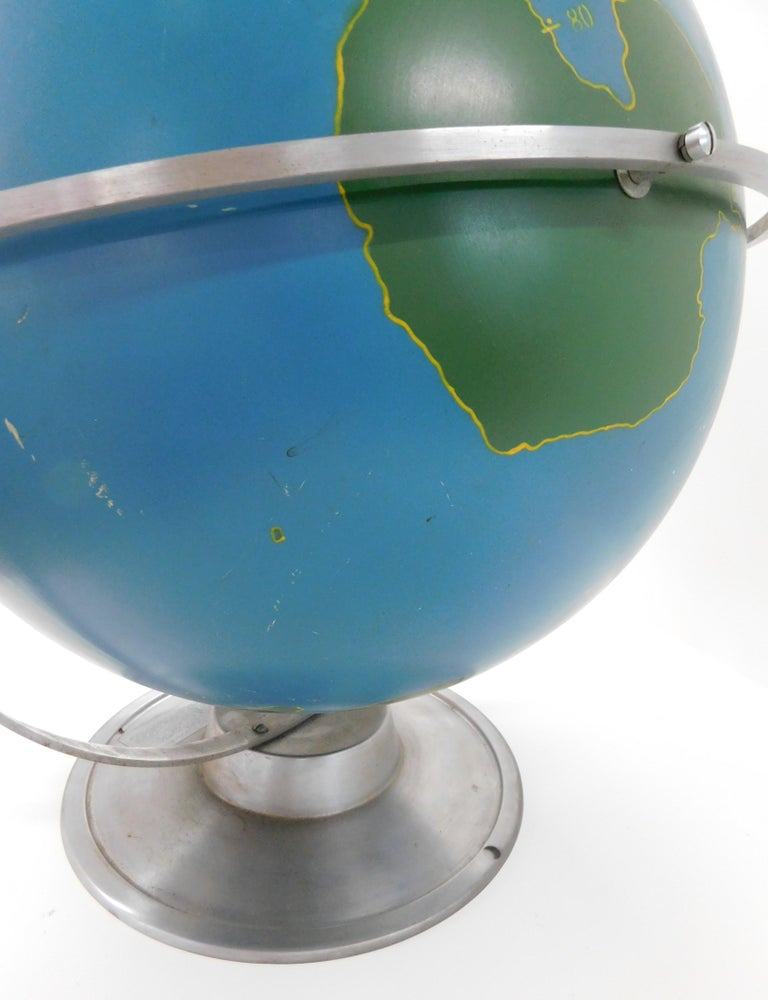 Painted Large 1940s A.J. Nystrom Aviation Military Training Rotating World Globe USA For Sale