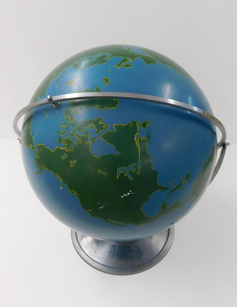 Mid-20th Century Large 1940s A.J. Nystrom Aviation Military Training Rotating World Globe USA For Sale