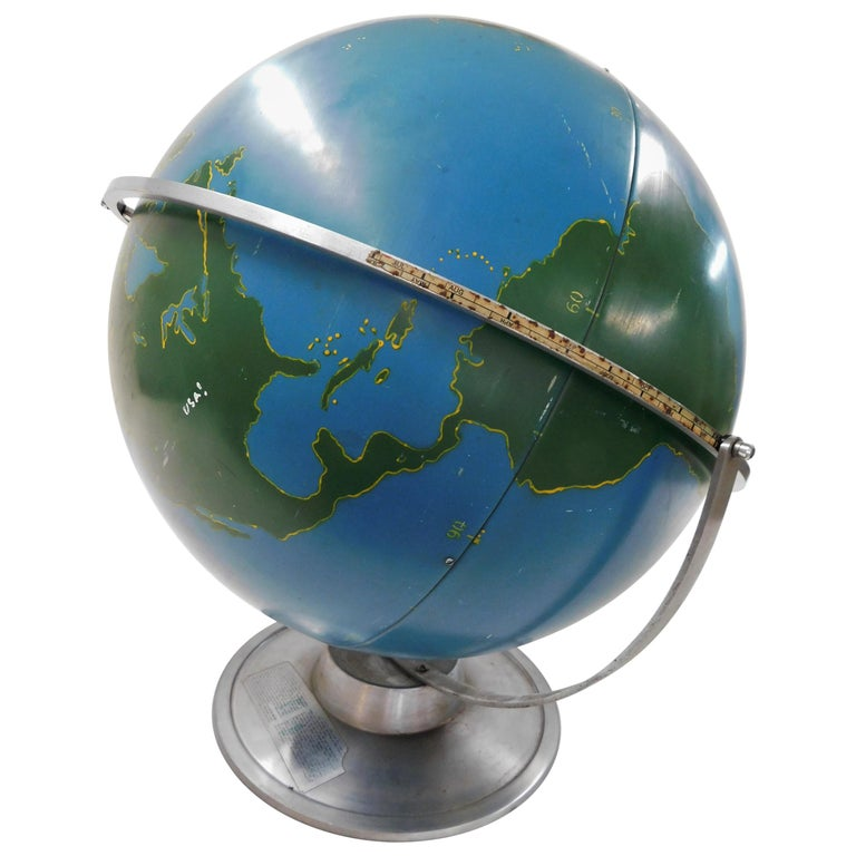 Large 1940s A.J. Nystrom Aviation Military Training Rotating World Globe USA For Sale