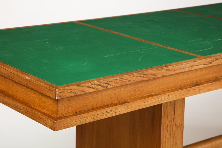 Mid-20th Century Large 1940s French Solid Oak Library Table For Sale