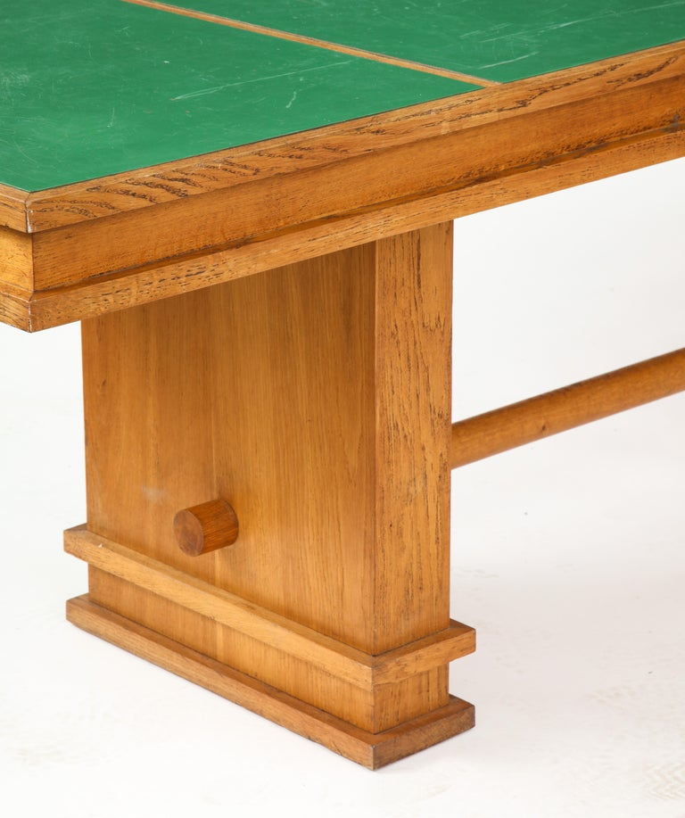 Large 1940s French Solid Oak Library Table For Sale 1