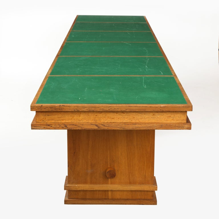 Large 1940s French Solid Oak Library Table For Sale 2