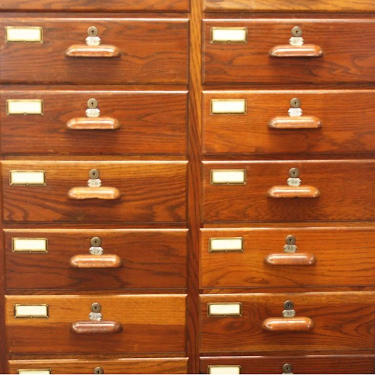 Large 1940s Industrial 24-Drawer Oak Cabinet on Wheels by ...