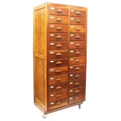 Large 1940s Industrial 24-Drawer Oak Cabinet on Wheels by Walrus Manufacturing