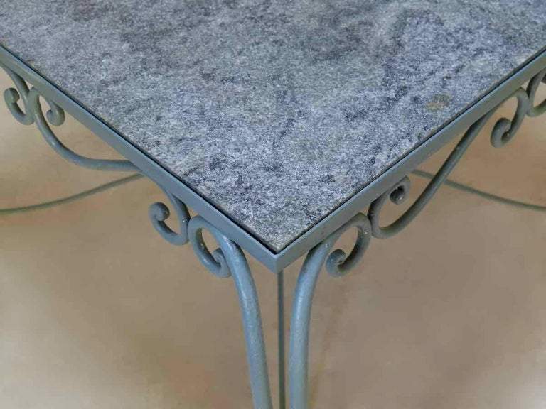 Painted Large 1940s Square Wrought-Iron and Granite Dining Table from France For Sale