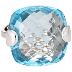 Large 19.50ct Blue Topaz Ring Estate 18k White Gold Square Fine Cocktail Jewelry