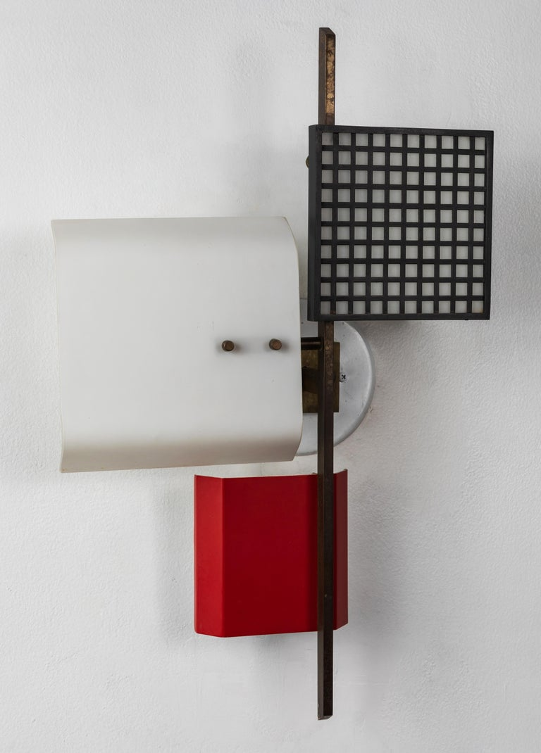 Large 1950s 3 Panel Wall Light Attributed To Oscar